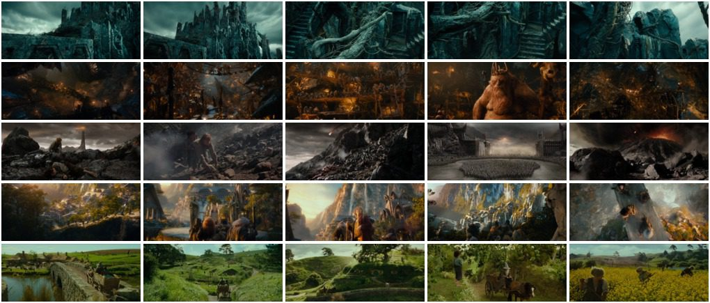 Figure 1: Our dataset of The Hobbit and Lord of the Rings screenshots. We have 25 total images of 5 different classes.