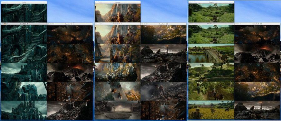 Figure 4: Using images from Dol-Guldur, Rivendell, and The Shire as queries.