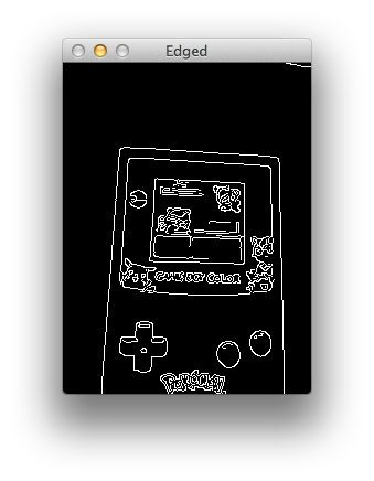Figure 3: Applying edge detection to our Game Boy image. Notice how we can clearly see the outline of the screen.