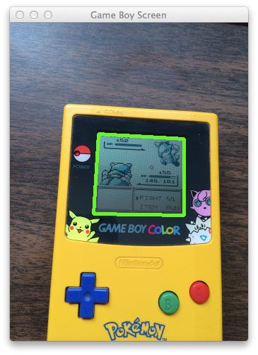 Figure 4: We have successfully found our Game Boy screen and highlighted it with a green rectangle.