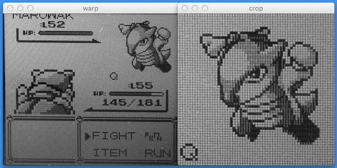Figure 5: Performing a perspective transformation on the Game Boy screen and cropping out the Pokemon.