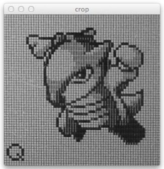 Figure 4: Cropping the Pokemon from our Game Boy screen using Python and OpenCV.