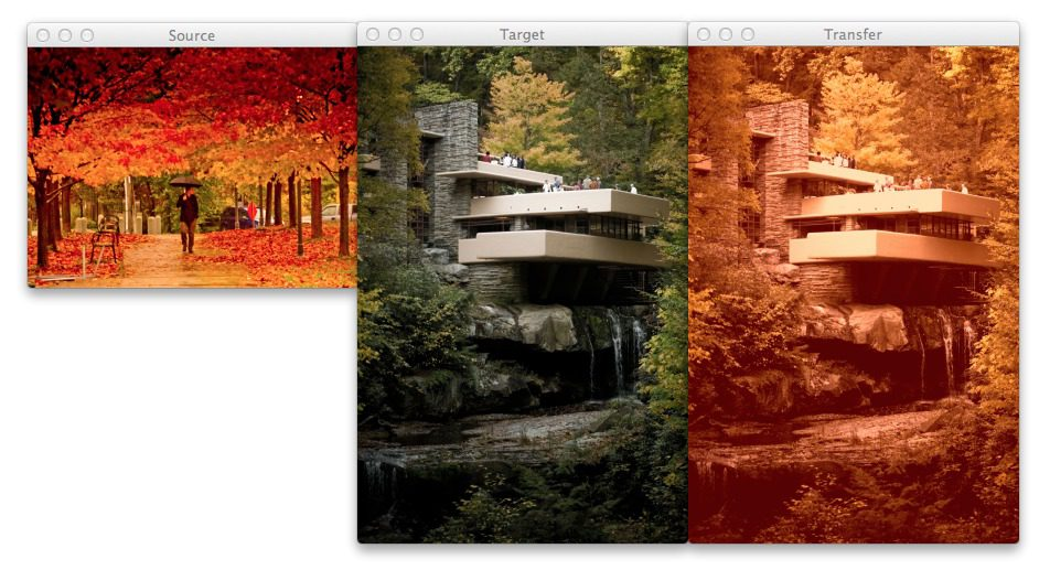 Figure 3: Using color transfer between images to create an autumn style effect on the output image.