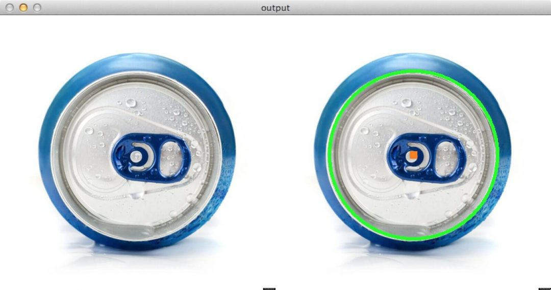 Figure 2: Detecting the top of a soda can using circle detection with OpenCV.