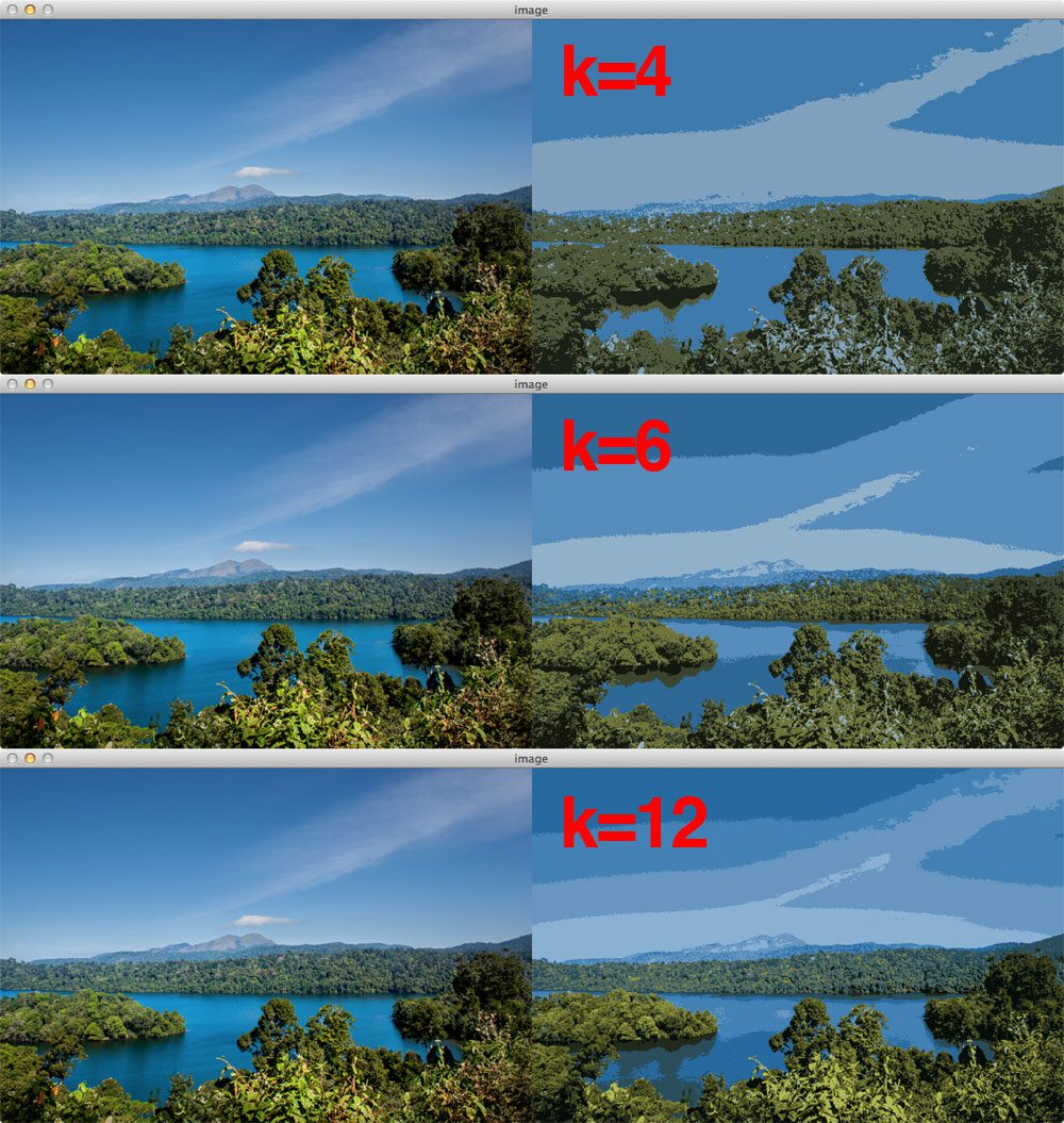Figure 2: Apply color quantization using OpenCV to a nature scene.