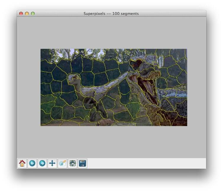 Applying SLIC superpixel segmentation to generate 100 superpixels using Python.