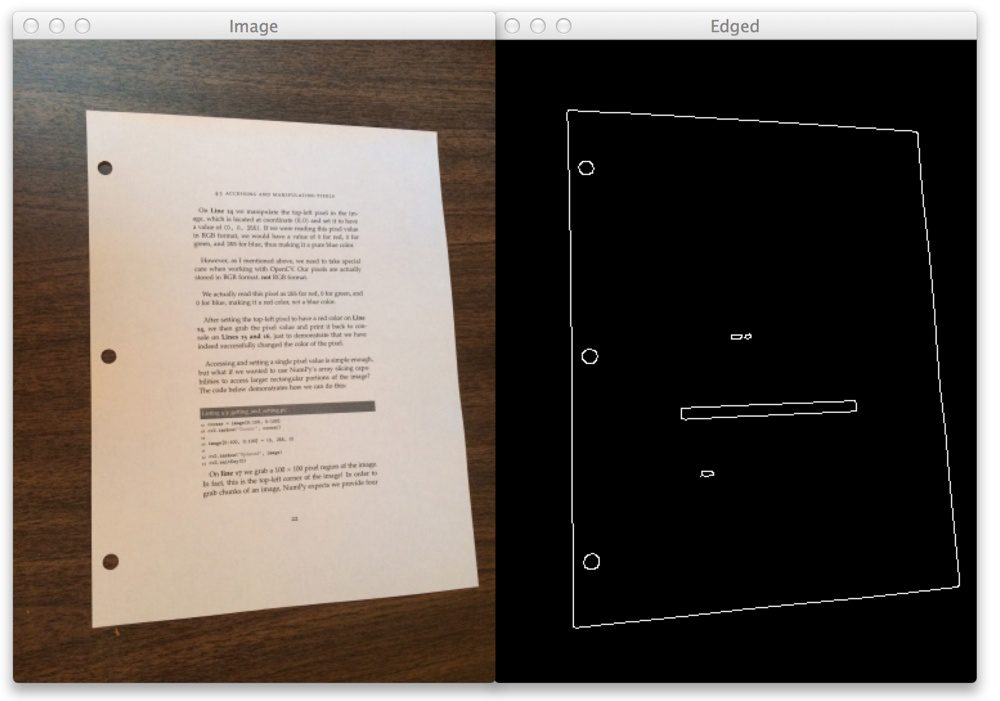 Figure 4: Applying edge detection to scan a document using computer vision.
