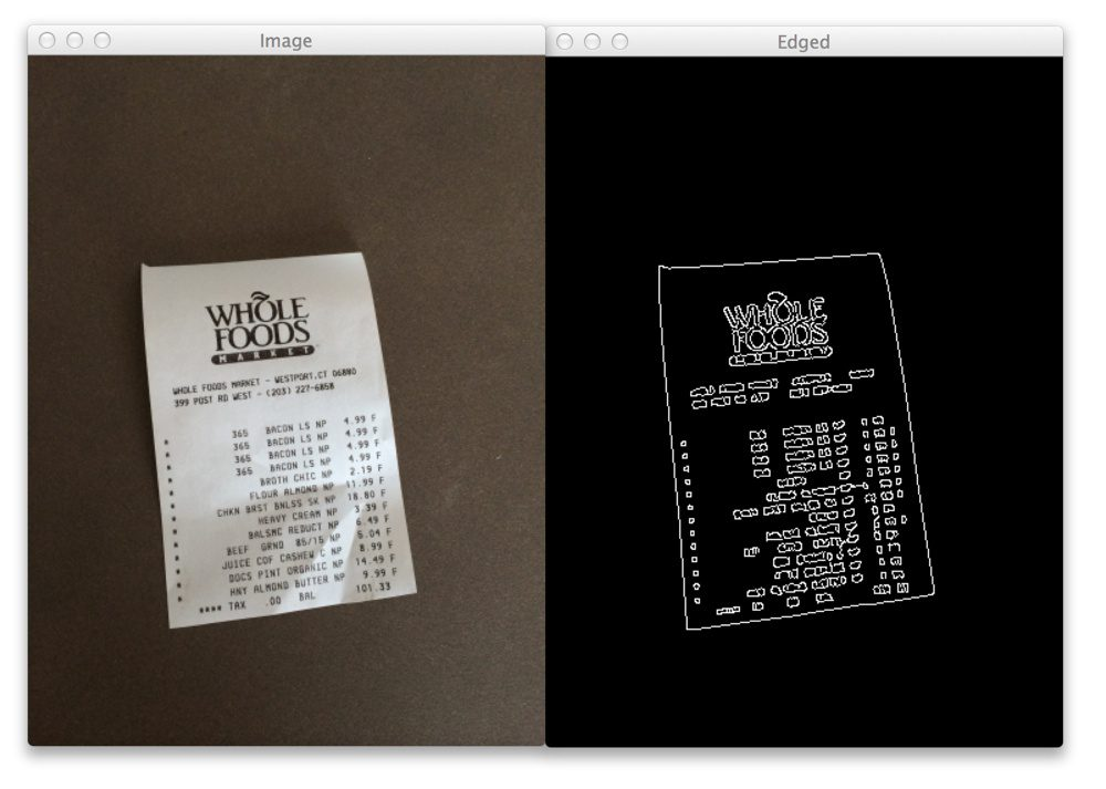 Figure 1: The first step of building a document scanning app. On the left we have the original image and on the right we have the edges detected in the image.