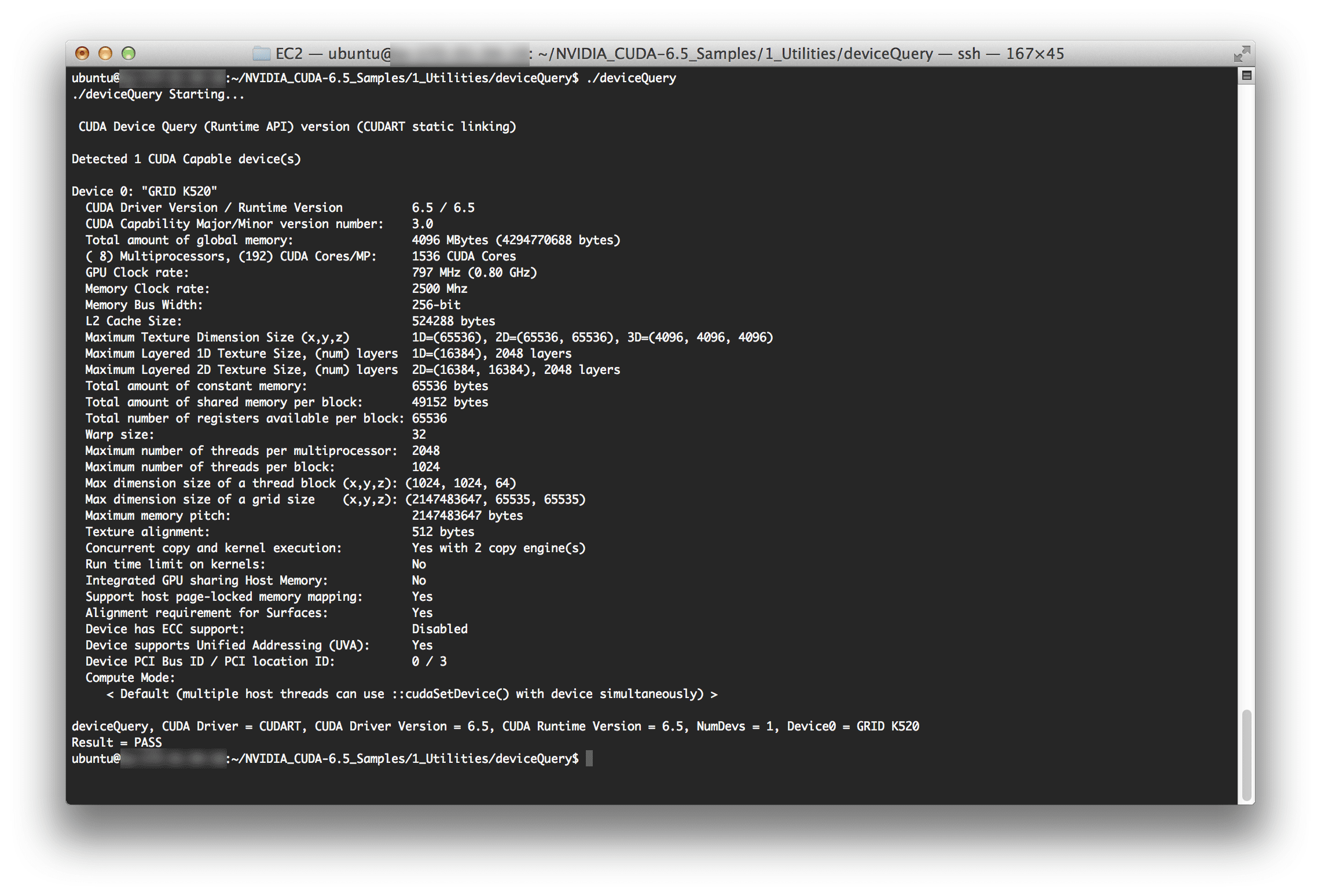 Running deviceQuery on the g2.2xlarge EC2 instance