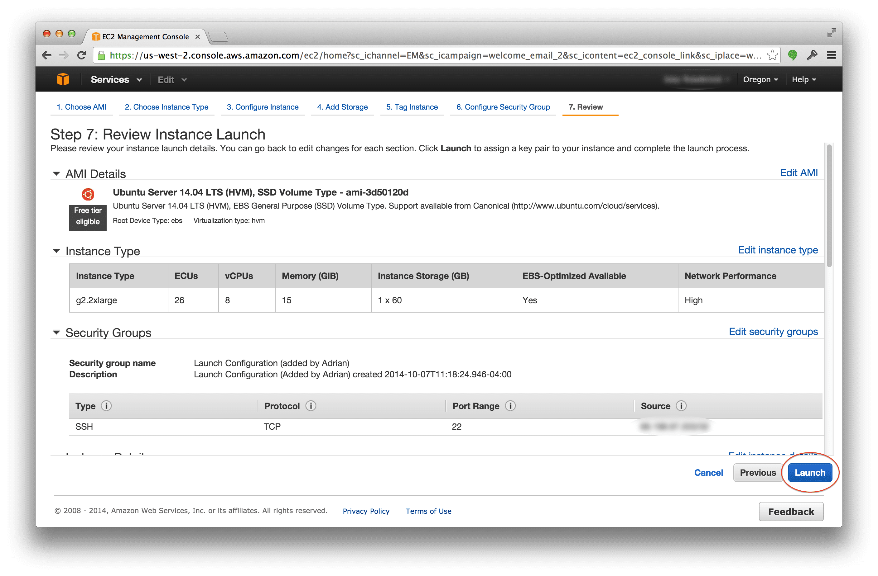 Launching your g2.2xlarge Amazon EC2 instance
