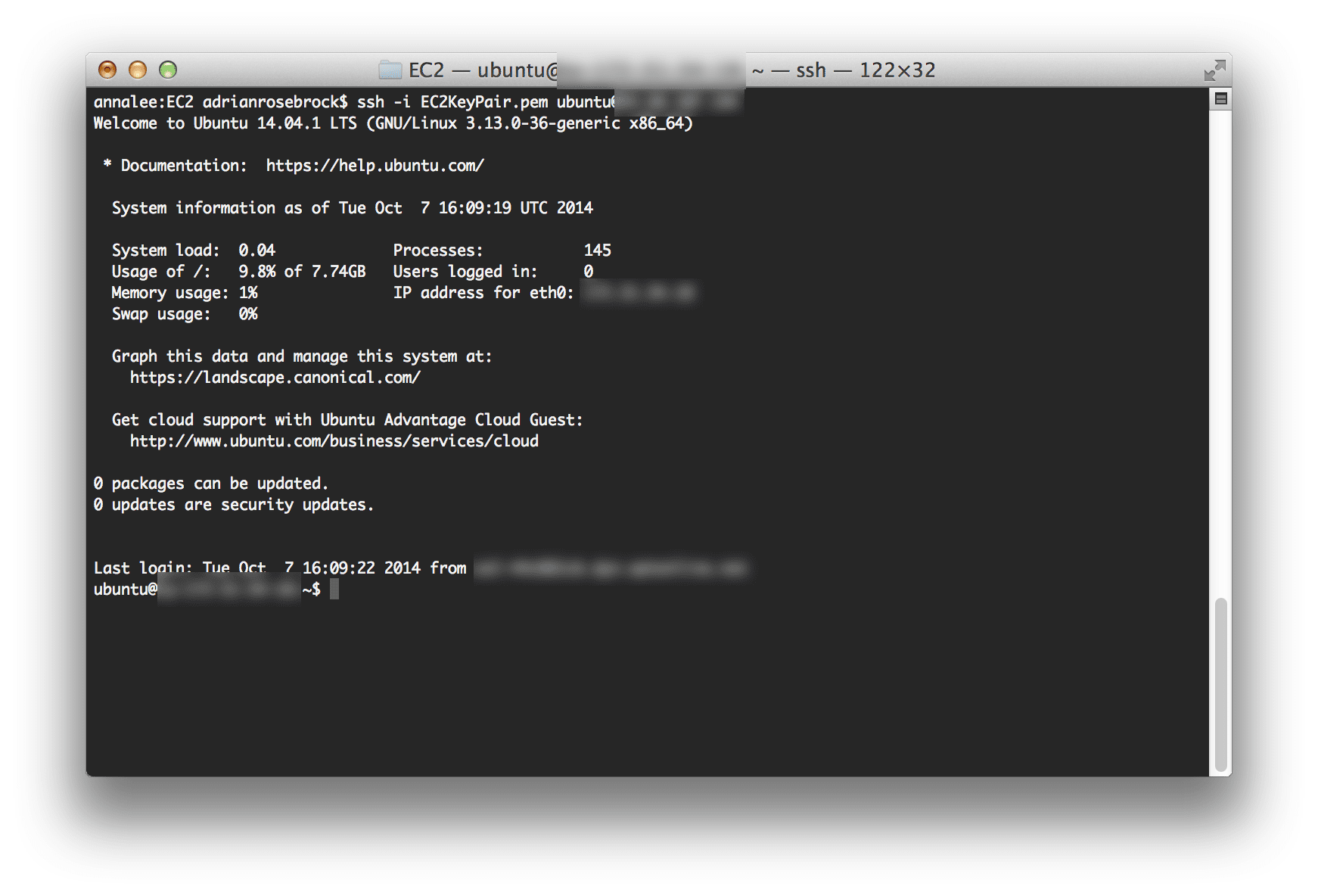SSH'ing into my g2.2xlarge EC2 instance