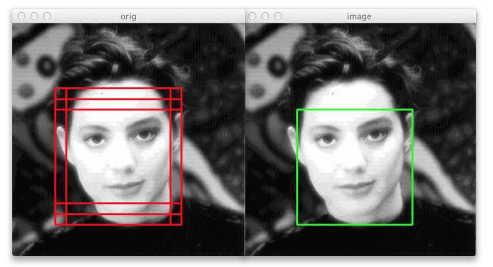 Figure 3: Six bounding boxes are detected around the face, but by applying fast non-maximum suppression we are correctly able to reduce the number of bounding boxes to one.