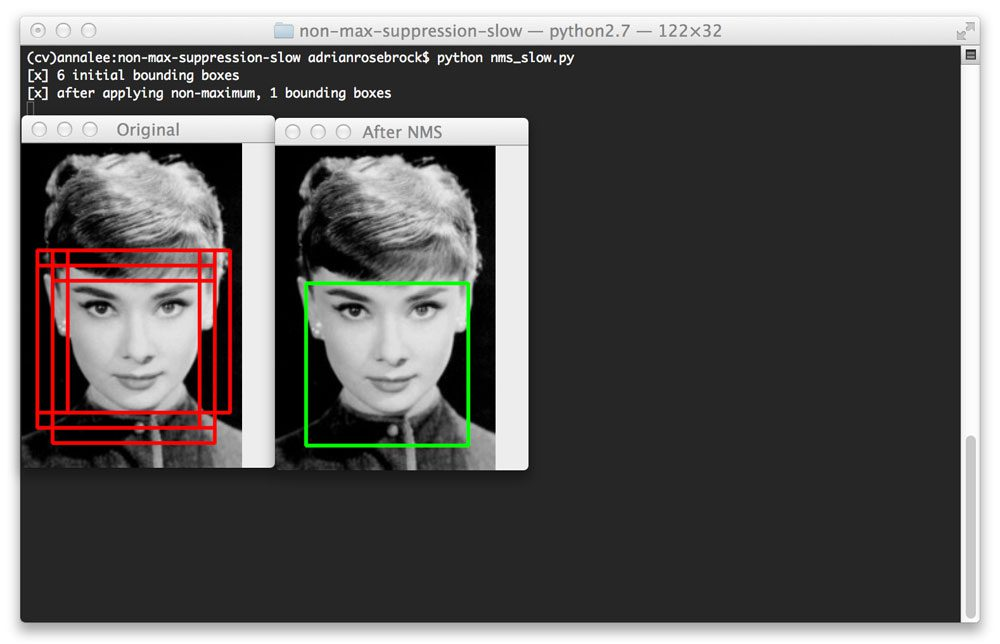 Applying non-maximum suppression to an image