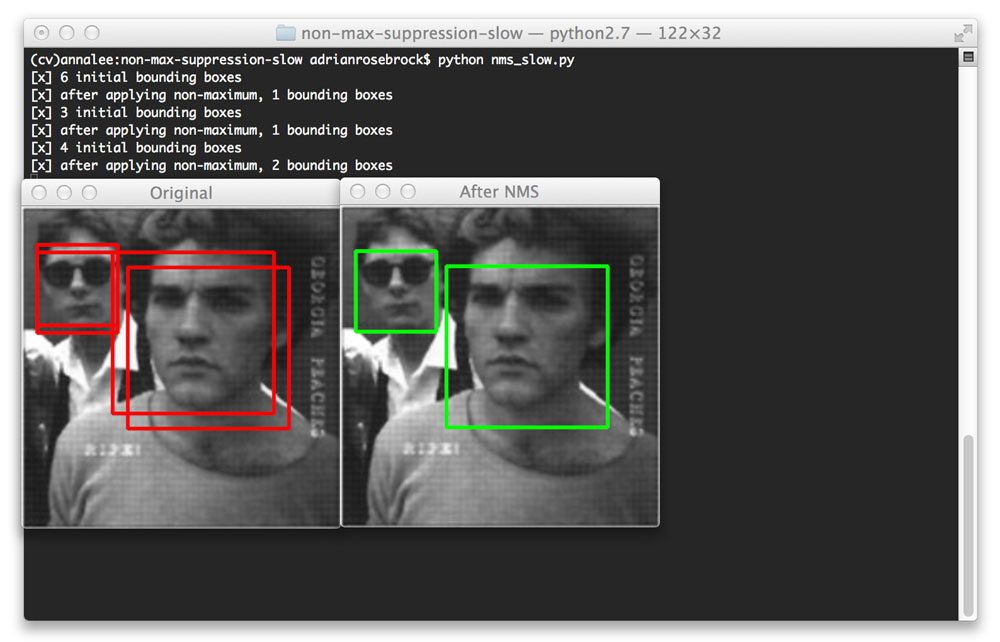 Figure 3: Non-maximum suppression correctly handles when there are multiple faces, suppressing the smaller overlapping bounding boxes, but retaining the boxes that do not overlap.