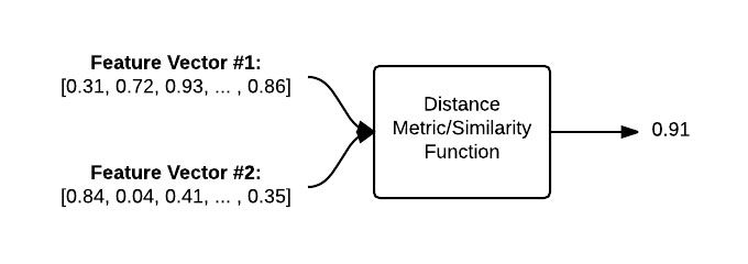 "Figure 5: To compare two images, we input the respective feature vectors into a distance metric/similarity function. The output is a value used to represent and quantify how ""similar"" the two images are to each other.."
