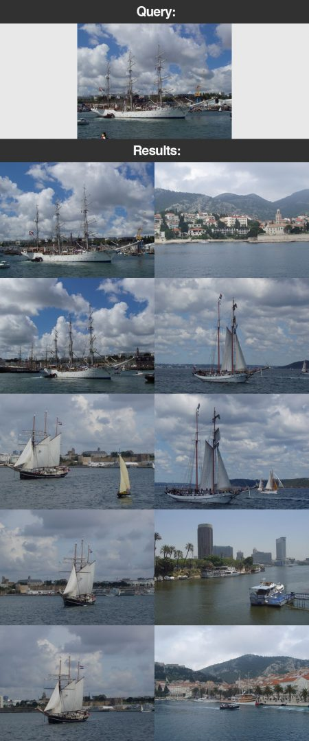 Figure 9: An example of our image search engine. We submit a query image containing boats and the sea. The results returned to us are relevant since they too contain both boats and the sea.