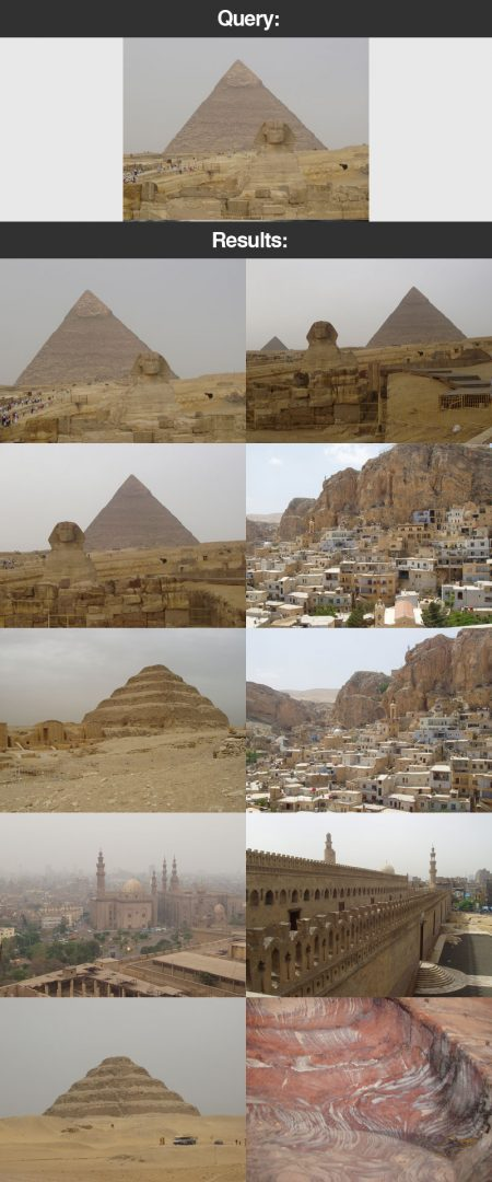 Figure 18: Search our vacation image dataset for pictures of the pyramids and Egypt.