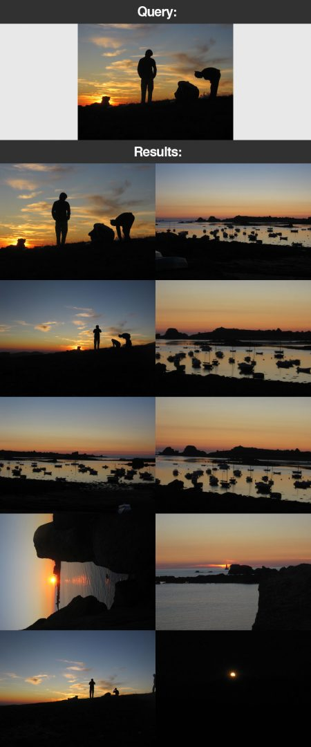 Figure 22: Our OpenCV image search engine is able to find the images of the sunset in our vacation photo dataset.