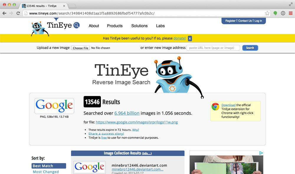 "Figure 2: TinEye is an example of a ""search by example"" image search engine. The contents of the image itself are used to perform the search rather than text."