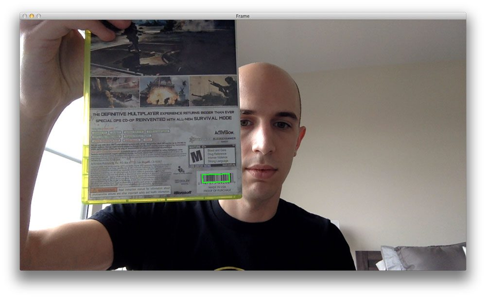 Figure 1: Detecting barcodes in video streams using Python and OpenCV.
