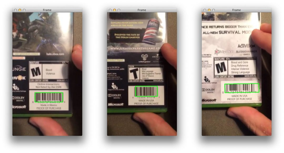 Figure 2: Successfully detecting the barcode of three XBox video games in a video stream.