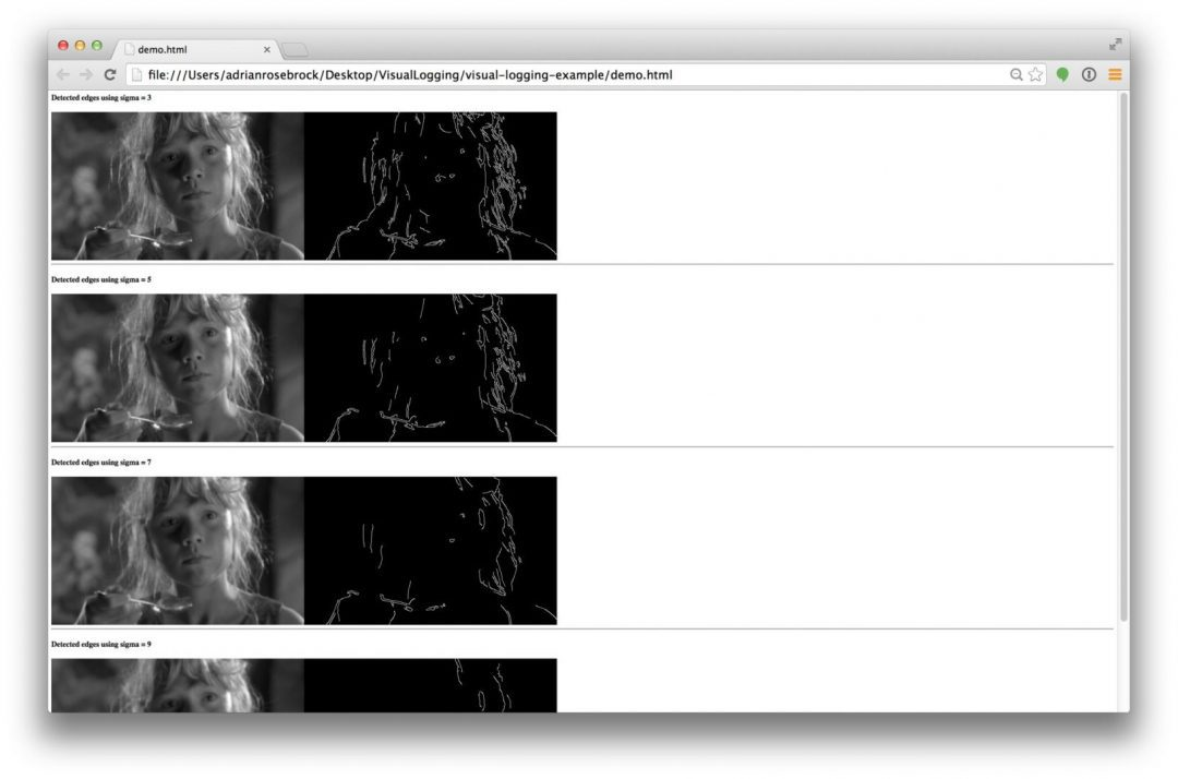 Figure 1: Example of using visual-logger to log and debug OpenCV + Python computer vision pipelines.