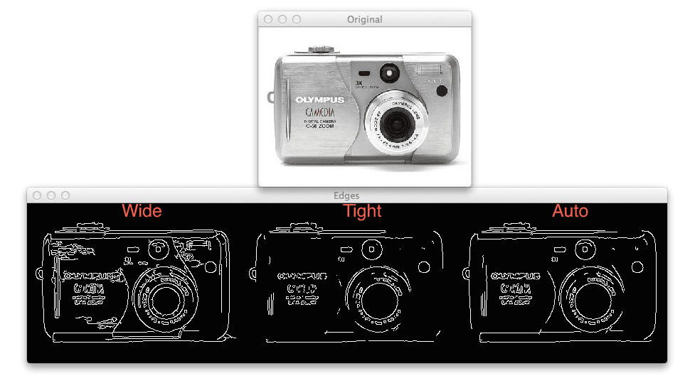 Figure 2: Applying automatic Canny edge detection to a picture of a camera. Left: Wide Canny edge threshold. Center: Tight Canny edge threshold. Right: Automatic Canny edge threshold.