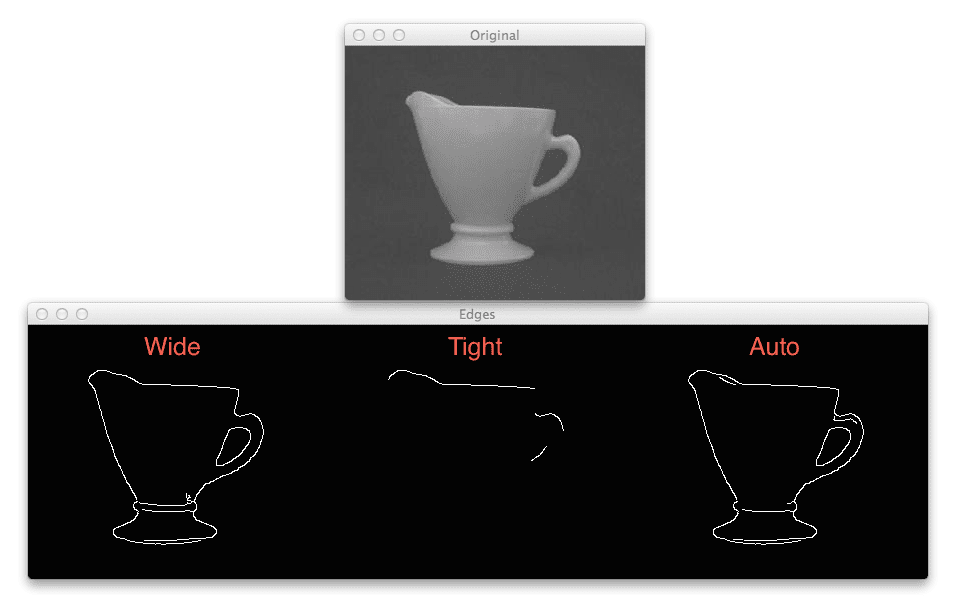 Figure 3: Applying automatic Canny edge detection to a picture of a cup. Left: Wide Canny edge threshold. Center: Tight Canny edge threshold. Right: Automatic Canny edge threshold.