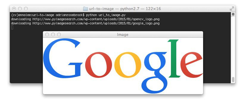 Figure 2: Downloading the Google logo from a URL and converting it to OpenCV format.