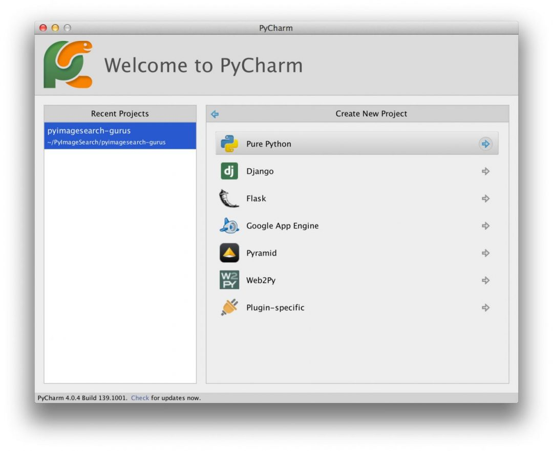 Creating a new Pure Python project in PyCharm.