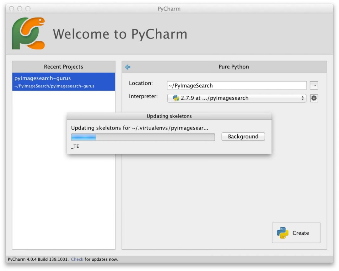 Figure 4: PyCharm updating the project skeletons for our computer vision virtual environment.