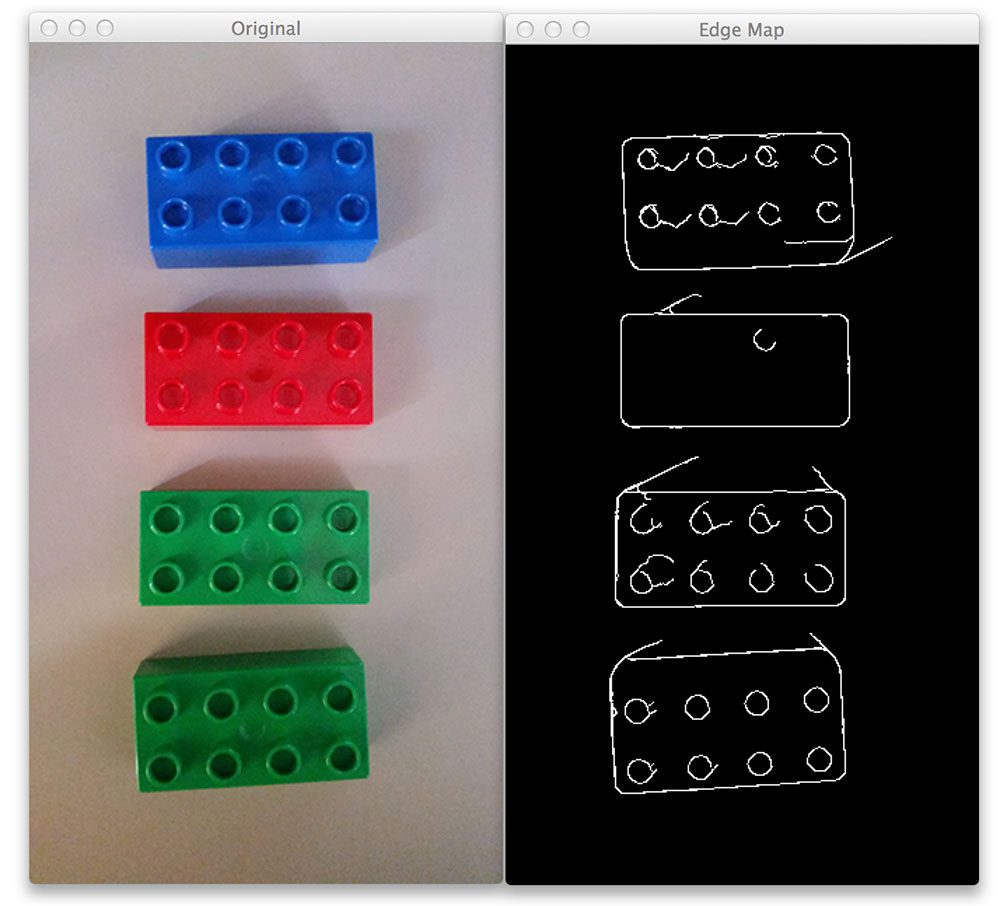 Figure 1: (Left) Our original image. (Right) The edge map of the Lego bricks.