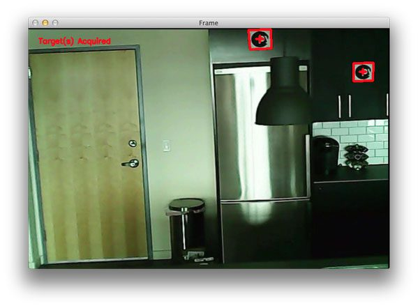 Figure 5: Our Python + OpenCV script has been able to successfully detect the targets in our video stream.