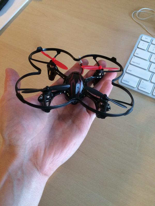 Figure 1: My Hubsan X4 quadcopter. It's tiny (fits in the palm of my hand), inexpensive (only $45), great for learning to fly, and comes with a built-in camera.