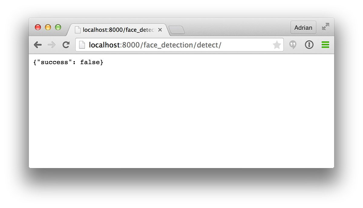 Figure 1: Navigating our browser to the face detection API endpoint.