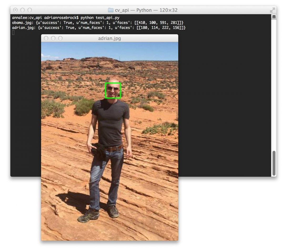 Figure 5: Uploading an image from disk to our face detection API -- once again, we are able to detect the face and draw the bounding box surrounding it.