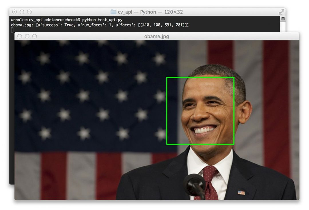 Figure 4: Taking the JSON response from our face detection API and drawing the bounding box around Obama's face.