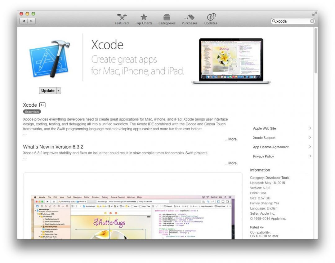 Figure 1: Installing Xcode on your OSX system.
