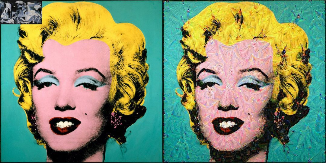 Figure 3: Andy Warhol's Marilyn Monroe guided using Picasso's Guernica.