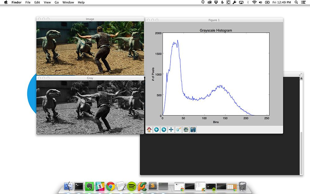 Figure 2: Using OSX, I can successfully plot and display my grayscale histogram using matplotlib.