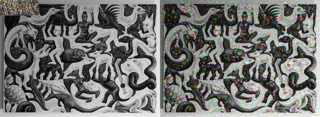 Figure X: MC Esher's Mosaic II guided by Jackson Pollock's Energy Made Visible.