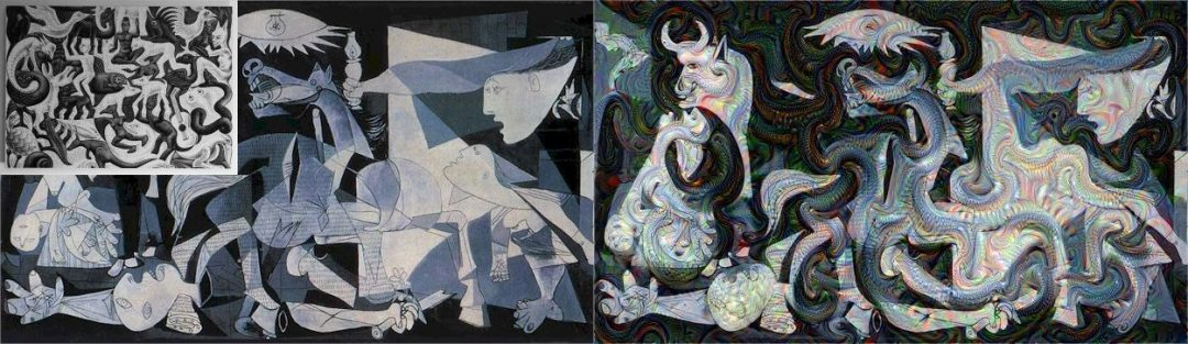 Figure X: Pablo Picasso's  Guernica guided with MC Escher's Sky and Water I.