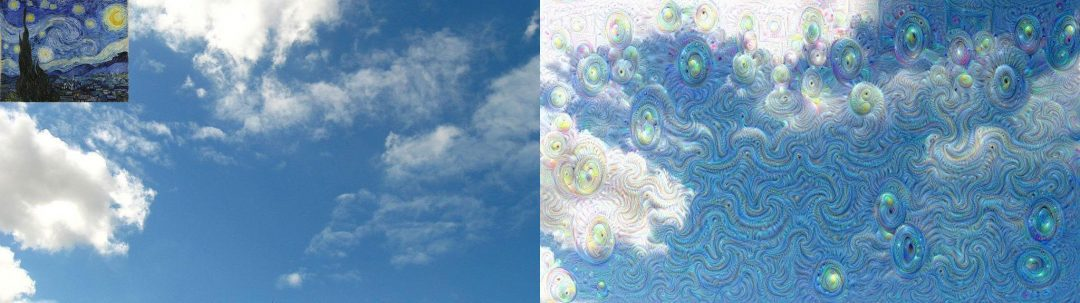 Figure 1: An example of applying guided dreaming using Starry Night and a cloud image.