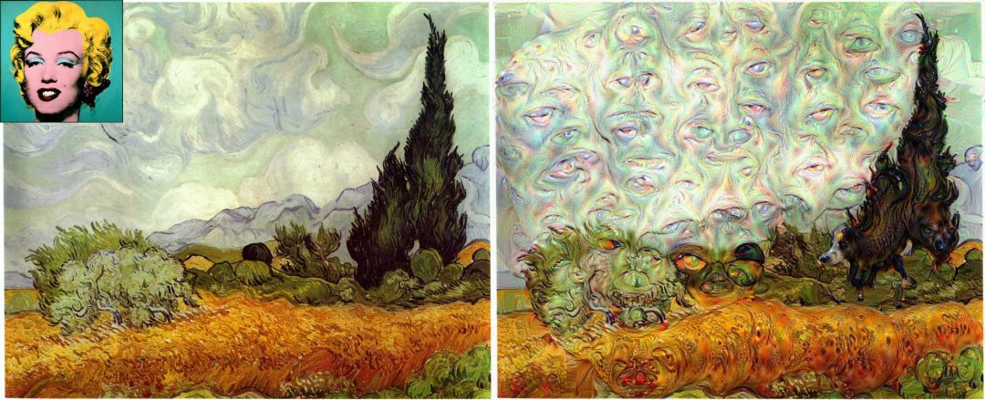 Figure 3: Vincent van Gogh's Wheat Field with Cypresses guided using Warhol's Marilyn Monroe.