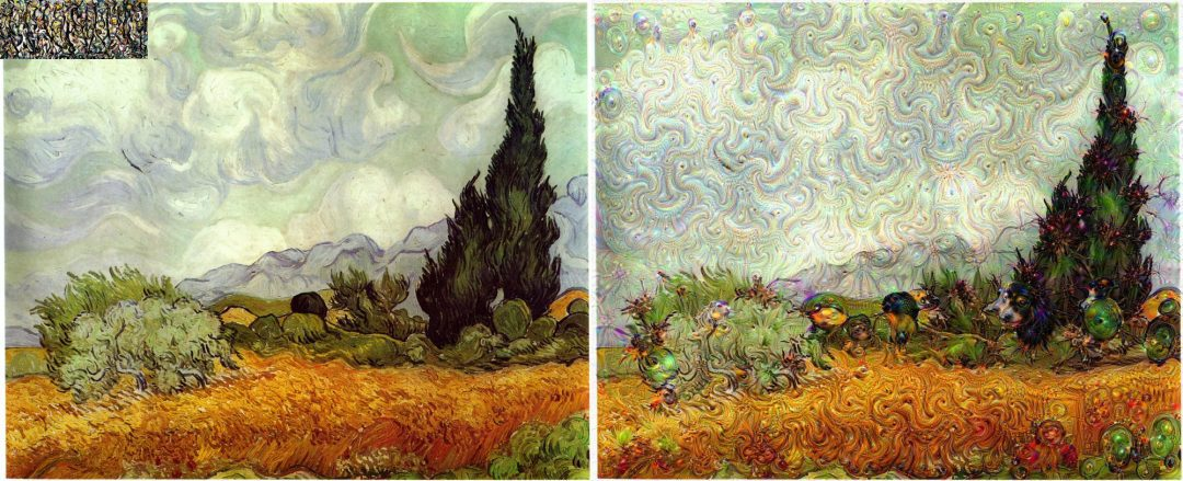 Vincent van Gogh's Wheat Field with Cypresses guided using Jackson Pollock's Energy Made Visible.