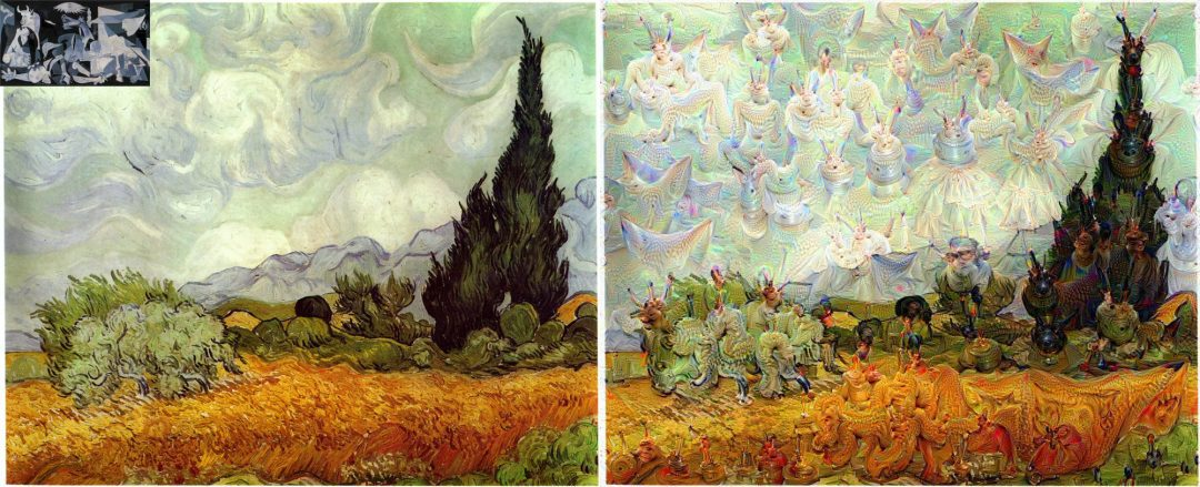 Figure 5: Vincent van Gogh's Wheat Field with Cypresses guided using Picasso's Guernica.