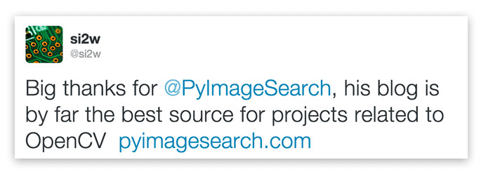 Big thanks for @PyImageSearch, his blog is by far the best source for projects related to OpenCV.