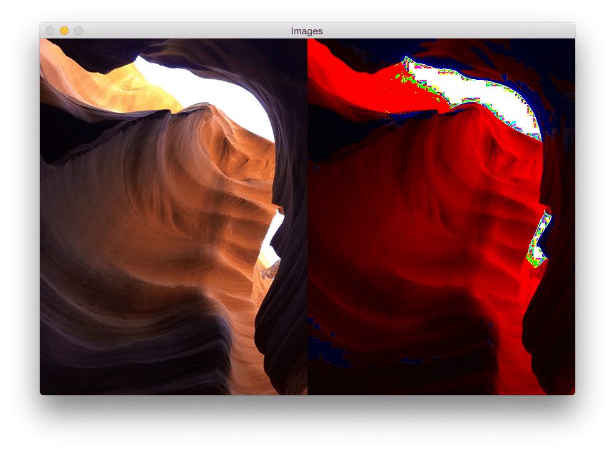 Figure 5: Applying the Max RGB filter to a photo taken in Antelope Canyon. Are you surprised by the results?