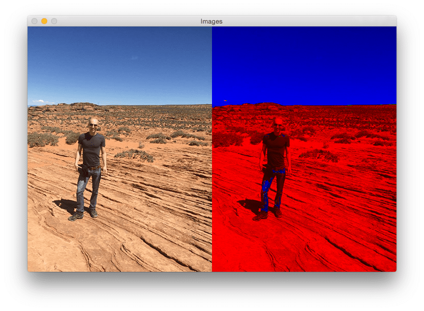 Figure 3: Our original image (left) and the Max RGB filtered image (right).