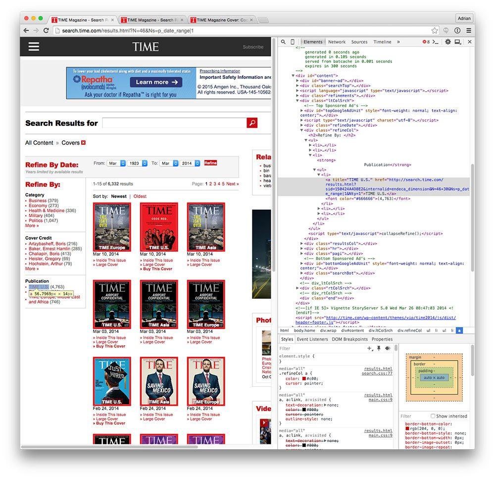 Figure 2: Utilizing Chrome's Developer tools to navigate the DOM.